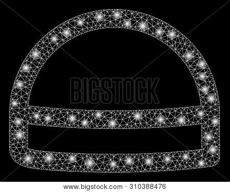 Flare Mesh Hardhat With Sparkle Effect. Abstract Illuminated Model Of Hardhat Icon. Shiny Wire Carca