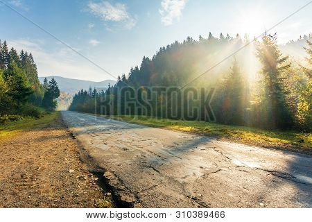 Old Road Through Forest In Mountains At Sunrise. Beautiful Transportation Scenery In Autumn. Fluffy