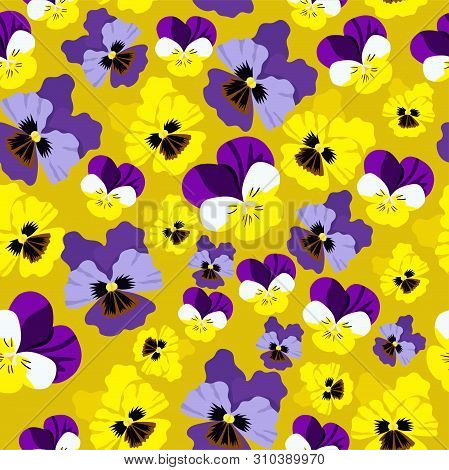 Seamless Pattern With Pansies On Yellow Background. Vector Graphics.