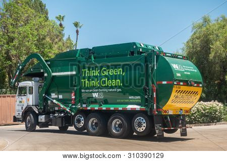 Scottsdale,AZ/USA - 7.4.19: Waste Management Inc, is an American waste management, & environmental services company in North America, founded in 1968, the company is headquartered in Houston, Texas.