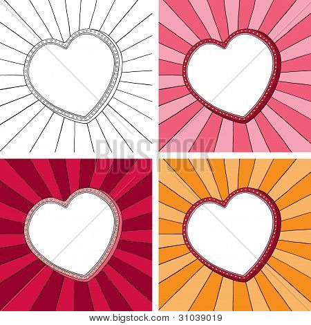 Doodle heart frame with sunbeam radial background