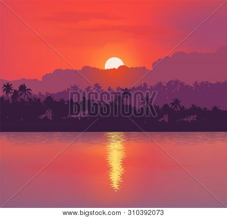 Red Sunset Background With Clouds And Reflection In Calm Ocean. Vector Banner And Poster Background