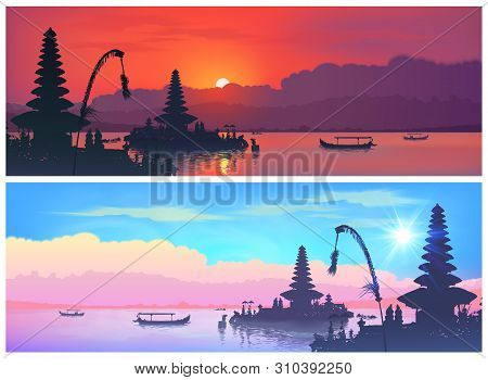 Set Of Vector Travel Banners With Balinese Landscapes Of Traditional Bali Temple Silhouettes And Fis