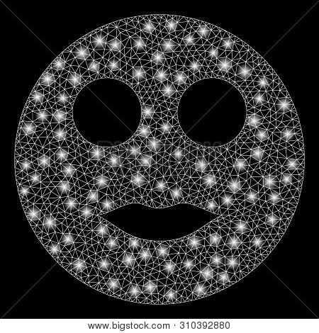 Glossy Mesh Lips Smiley With Lightspot Effect. Abstract Illuminated Model Of Lips Smiley Icon. Shiny