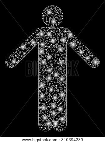 Flare Mesh Ignorance Pose With Sparkle Effect. Abstract Illuminated Model Of Ignorance Pose Icon. Sh