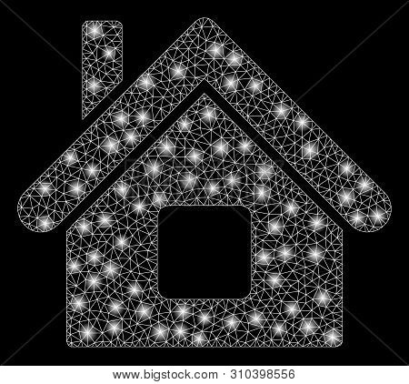 Flare Mesh Home With Glow Effect. Abstract Illuminated Model Of Home Icon. Shiny Wire Carcass Polygo