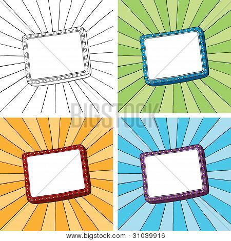 Doodle rectangle frame with sunbeam radial background