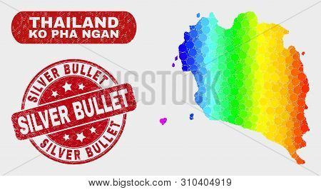 Rainbow Colored Dotted Ko Pha Ngan Map And Seal Stamps. Red Rounded Silver Bullet Textured Seal. Gra