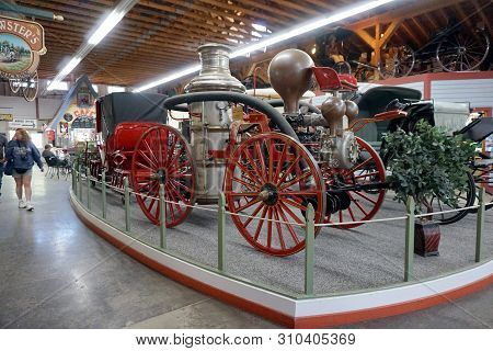 Mackinac Island, Michigan / United States - June 11, 2018: Vintage Horse-drawn Carriages, Including