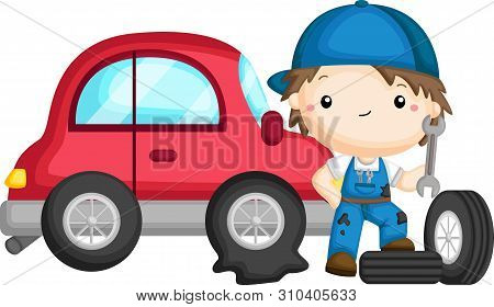 A Vector Of A Guy Fixing A Tire
