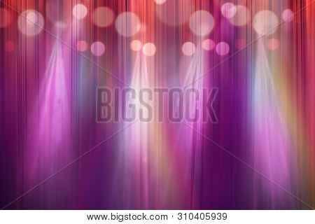 Blurred Colorful Lights On Stage, Abstract Image Of Concert Lighting, Defocus Of Light In Cinema