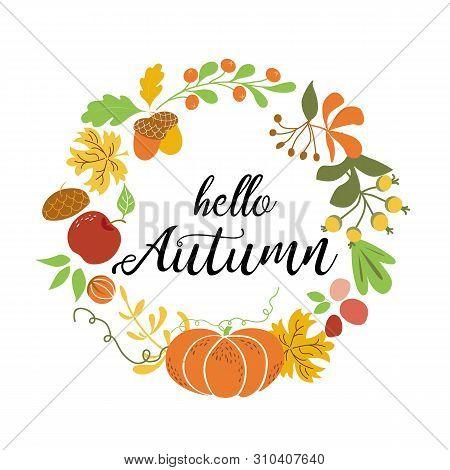Hello Autumn Wreath Fall Elements Orange Pumpkin Maple Leaves Apple Acorn Harvest Nature Design Fall
