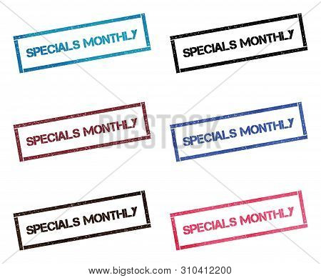 Specials Monthly Rectangular Stamp Collection. Textured Seals With Text Isolated On White Backgound.