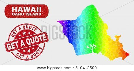 Rainbow Colored Dotted Oahu Island Map And Seal Stamps. Red Round Get A Quote Distress Seal Stamp. G