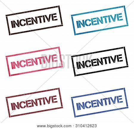 Incentive Rectangular Stamp Collection. Textured Seals With Text Isolated On White Backgound. Stamps