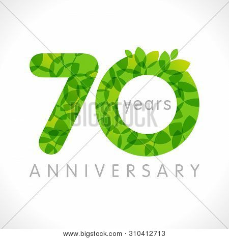 70 Th Anniversary Numbers. 70 Years Old Logotype. Age Congrats, Congratulation Idea With Leaves. Iso