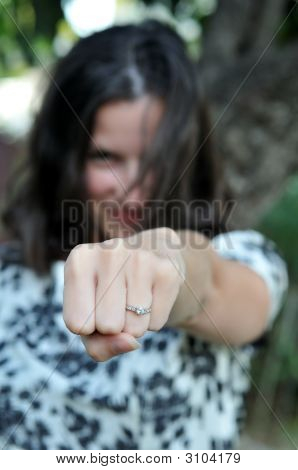 Attractive Woman Shows Off Ring