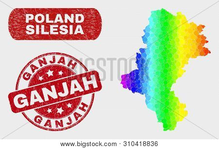 Rainbow Colored Dotted Silesian Voivodeship Map And Seal Stamps. Red Round Ganjah Grunge Seal. Gradi