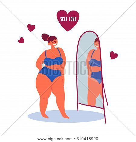 Self Confidence. Confident Plus Size Woman In Front Of A Mirror. Self Love Lettering In A Heart. Con