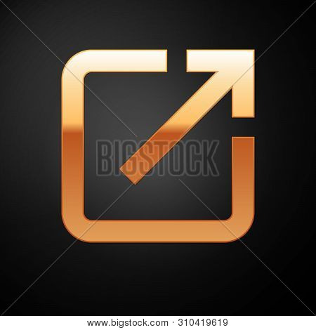 Gold Open In New Window Icon Isolated On Black Background. Open Another Tab Button Sign. Browser Fra