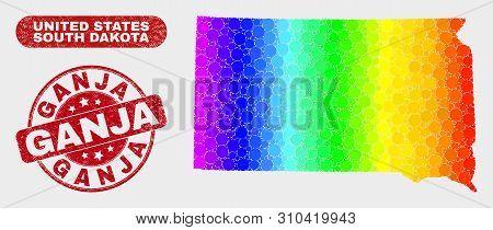 Spectrum Dot South Dakota State Map And Seal Stamps. Red Round Ganja Textured Seal. Gradient Spectru