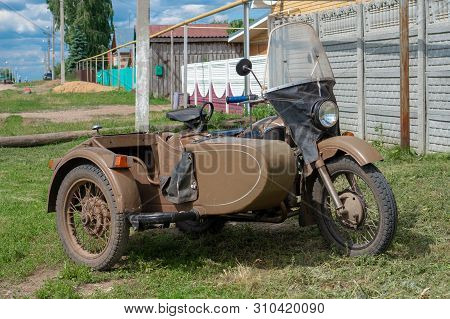 Russia, Tatarstan, June 15, 2019. Ural Motorbike With Sidecar. Ural Is A Russian Brand Of Heavy Side