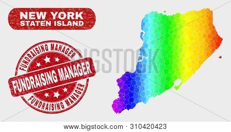 Rainbow Colored Dot Staten Island Map And Seal Stamps. Red Round Fundraising Manager Scratched Seal