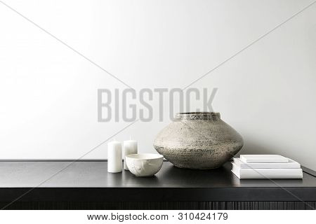 Interior Design Of Room, Mock-up, Vase, Candles, White Books On Black Table And White Wall. Minimali