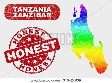 Spectral Dot Zanzibar Island Map And Watermarks. Red Round Honest Textured Seal Stamp. Gradiented Ra