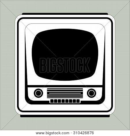 Retro Vintage Tv Set,vector Illustration,lining Draw Front