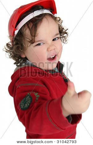 Cute little boy giving the thumbs-up