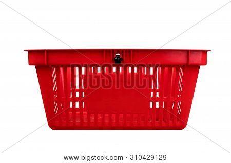 Empty Red Plastic Shopping Basket Isolated On White Background.