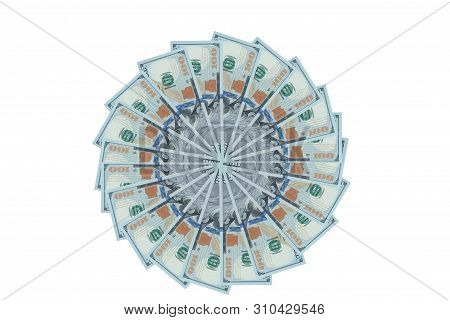 Artistic Pattern Made From Dollar Bills Snowflake, Flower Or Star Isolated With A Clipping Path On W