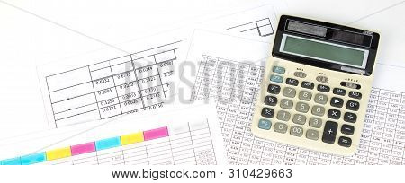 Financial Charts, Graphs, Coins, Calculator On Isolated White Background. Panorama, Banner.