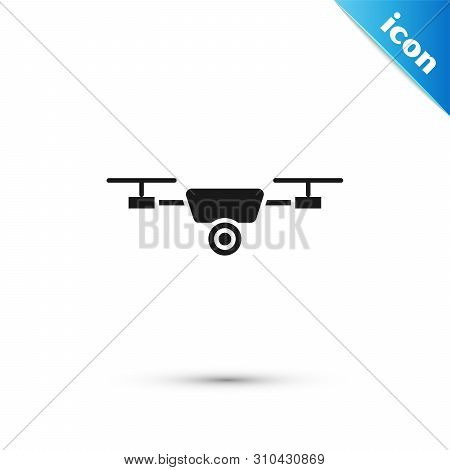 Black Drone Flying With Action Video Camera Icon Isolated On White Background. Quadrocopter With Vid