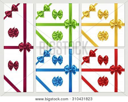 Set Of Isolated Bow Knots And Favour Ribbon For Gift Decoration, Satin Bow-knots For Present Box Or