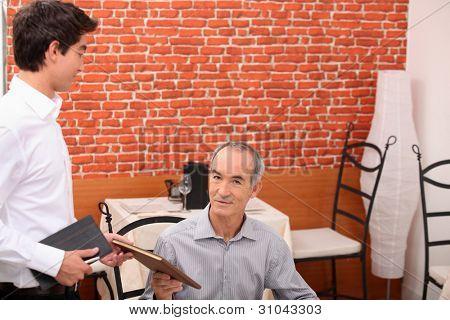 Customer ordering  in a restaurant