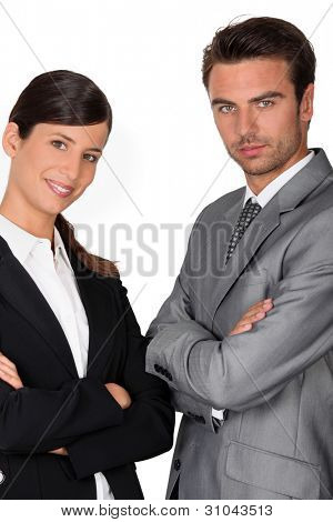Confident business couple