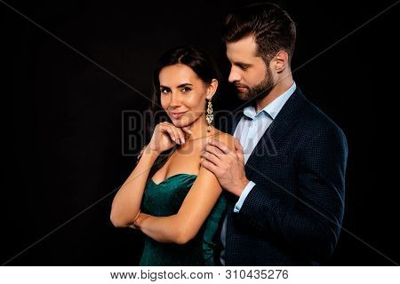 Portrait of his he her she nice-looking fascinating magnificent shine attractive lovely lovable luxurious gentle cheerful two person soul mate caressing event amusement isolated over black background poster
