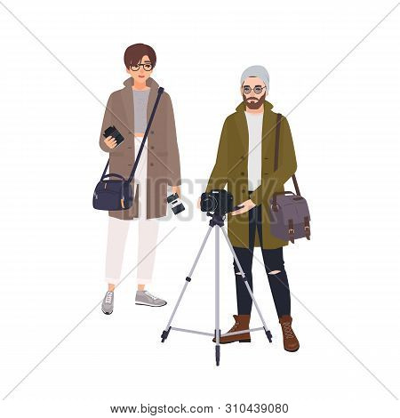 Photographer And His Assistant Isolated On White Background. Pair Of Photo Journalists Taking Pictur