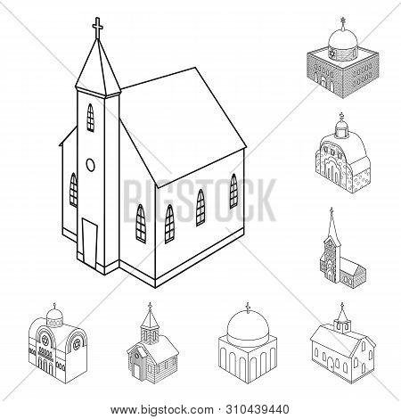 Vector Design Of Architecture And Building Logo. Collection Of Architecture And Clergy Vector Icon F