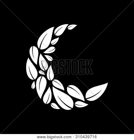 Moon Logo Vector Isolated On Black Background, Moon Logo Vector, Moon Leaf Logo, Leaf Moon Logo Vect