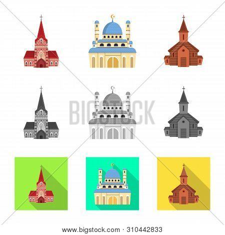 Vector design of cult and temple symbol. Set of cult and parish stock symbol for web. poster