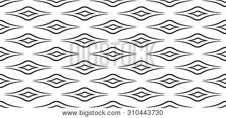 Black, White Texture. Seamless Geometric Pattern In Minimalist Style. Black Lines Isolated On White