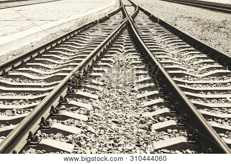 The Convergence Of Two Paths Rail As A Symbol Of The Inevitable Unity Of Lives. Railway Tracks With