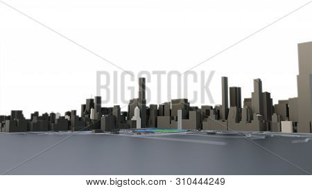 3d Futuristic City Architecture With Skyscrapers And Buildings On Black. 3d Illustration