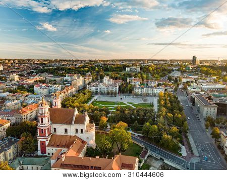 Aerial View Of Newly Renovated Lukiskes Square, Vilnius. Sunset Landscape Of Unesco-inscribed Old To