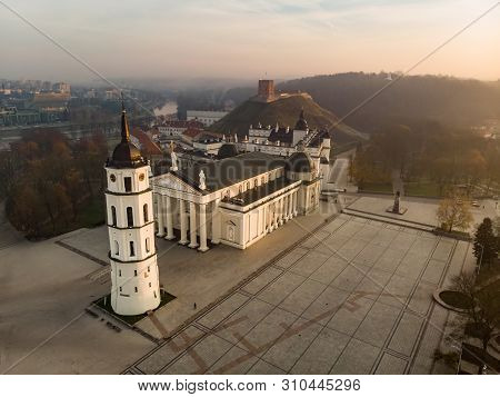 Aerial View Of The Cathedral Square, Main Square Of Vilnius Old Town, A Key Location In City`s Publi