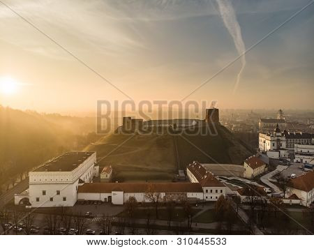 Aerial View Of Gediminas' Tower, The Remaining Part Of The Upper Castle In Vilnius. Sunrise Landscap
