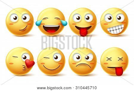 Smiley Face Vector Set. Smileys And Yellow Emoticons With Happy, Funny, Kissing, Laughing And Tired